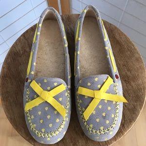 Sz 5 UGG slippers NWOB grey w yellow polka dots